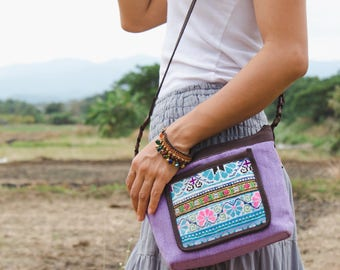 Purple Corssbody Bag with Vintage Hmong Hill Tribe Embroidered, Pom Pom Zip Pull, Boho Purse, Women Sling Bag, Gift Bag for Her - BG522PURV