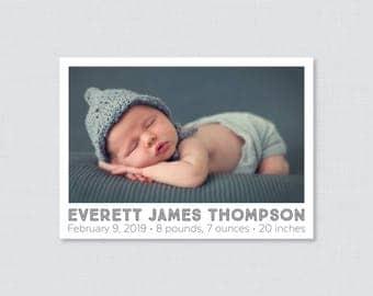 Printable or Printed Photo Birth Announcement Cards - Birth Announcements,  Classic Birth Announcement, Horizontal/Landscape Photo BA10