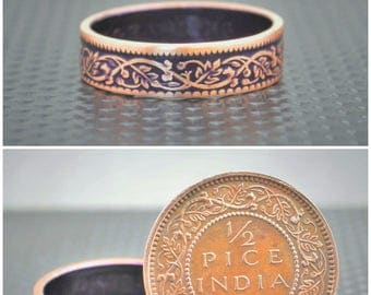Purple Wreath Coin Ring, India-British Coin,Purple Ring, Coin Ring,Bronze Ring,Unique BoHo Ring,Dainty Ring,Womens Coin Ring,8th Anniversary