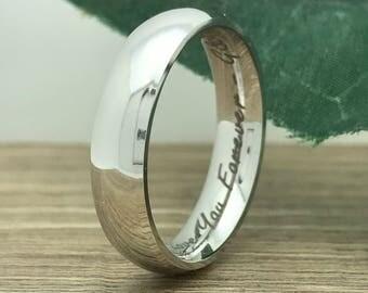 5mm Titanium Wedding Ring, Personalized Custom Engrave Classic Dome Wedding Band Ring, Wedding Ring, Bride & Groom Ring-TRB156-5mm