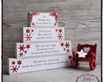 Christmas in Heaven blocks, Christmas blocks, freestanding blocks, Christmas memorial, save a chair snowflake design