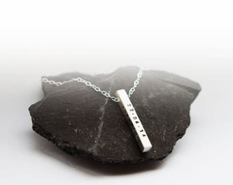 Sterling Silver Solid Bar Personalised Necklace ~ personalized, engraved, engraving, custom, stamped, initials, name, dates, date, birthday
