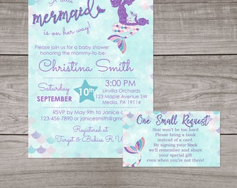 Mermaid Baby Shower Invitation Printed or Digital File with Optional Book Card - Mermaid Invitations - Sea Baby Shower - Baby-107