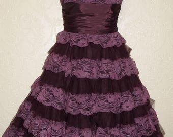 vintage 90's origianl BETSEY JOHNSON EVENING dress sz 4 eggplant grape color purple lace and satin