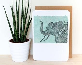 Elephant A6 Card; blank inside, blue, print, mandala, design, art, home decor, boho, indian, illustration, birthday, summer, turquoise, july