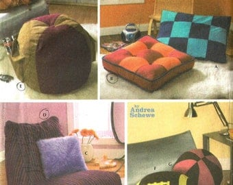 Simplicity Home Decorating 4524 Simply Teen Sewing Pattern Pillows Ottoman Dog Bed and Lounger Uncut