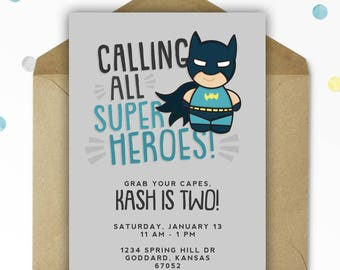 Batman Birthday Invitation - Superhero Birthday - Superhero - Printable - Personalized - 5x7