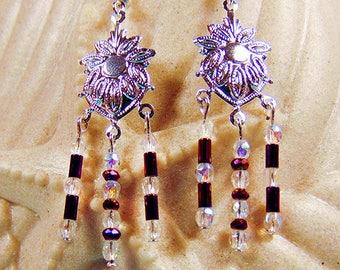 SILVER AND PURPLE earrings, silver focal, silver jewelry, purple beads, purple jewelry, clear crystals, crystal jewelry, earrings - 1965+