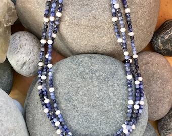 Sodalite Pearl 3-Strand Necklace