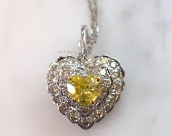 14K White Gold Yellow Sapphire And Diamond Heart Necklace
