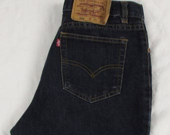 Vtg Women Levi's 501 Boot Cut High Waist Jeans 100% Cotton Dark Wash USA sz 30 X 32