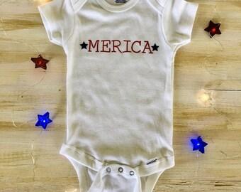Merica Onesie // Fourth of July Onesie // Independence Day Onesie