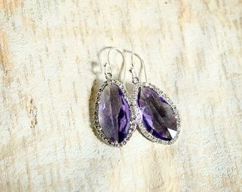 Purple Bridal Earrings Ultra Violet Earring Teardrop Earring Purple Crystal Earrings Lilac Earrings Bridesmaid Gift for Her Wedding Earrings