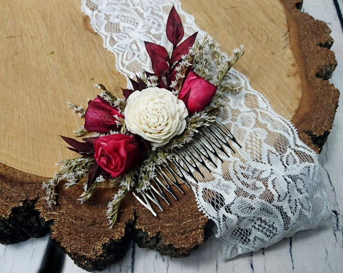 Alternative bride Burgundy rustic woodland HAIR COMB Sola and dried Flowers maroon deep red burlap hair piece bridal accessory gothic