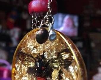 Devil In a Blanket Resin Cicada Pendant Necklace