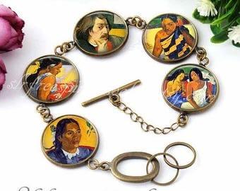 Paul Gauguin Bracelet, Tahiti Paintings, Gauguin Paintings, Famous Paintings, Gift for Artist, Link Bracelet, Photo image Jewelry