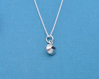 """Little girl's, Girl's fortune cookie necklace in sterling silver on a 14"""" sterling silver rolo chain with two inch extender.  Fortune Cookie"""