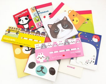 Mystery Grab Bag - Sticky Notes & Memo Pads (10 pcs + 1 mystery gift) Korean Stationery Cute Kawaii Planner