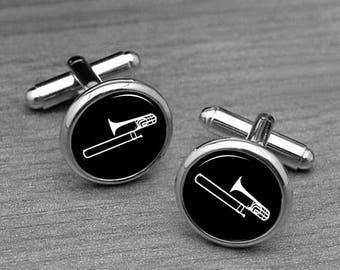 Trombone Cufflinks, Men's Handcrafted Silver Band Instrument Cuff Links personalized cufflinks, musical instrument cufflinks and Tie clips