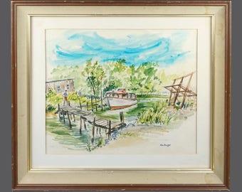 1968 Harry Bloomdahl Watercolor Painting Vintage Art Mid Century Modern MCM MOD