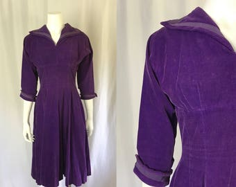 Small/medium ** 1950s BOBBIE BROOKS royal purple corduroy dress ** vintage fifties sailor style purple dress