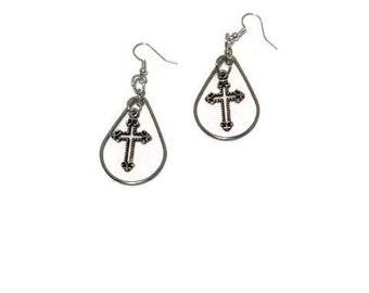 Earrings, large hoop with cross