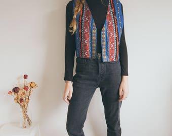 Vintage Retro Waistcoat, Boho Waistcoat, Retro Pattern, Hippie,