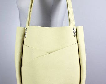 Pastel Yellow Leather Shoulder Bag/Pale Yellow Leather Tote Bag/Large Leather Carry All with Exterior Pockets – SMaroYellow