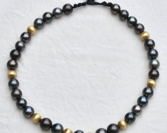 14k Gold and Tahitian Pearl Necklace