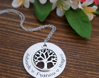 Personalized Family Tree Necklace | Mothers Necklace | Family Tree Grandma Necklace | Necklace For Mom | Mom Necklace | Mother Necklaces