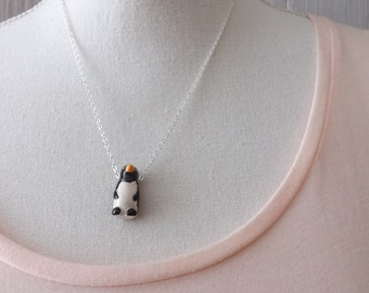 Penguin pendant on a silver-plated chain. Ceramic penguin necklace, bird necklace