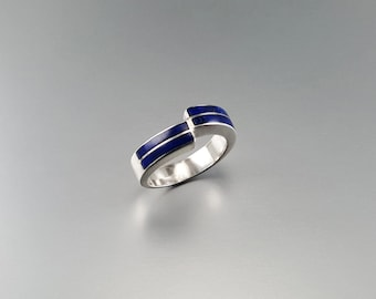 Lapis Lazuli ring with Sterling silver - geometrical design - gift idea - modern design - AAA Grade afghan Lapis inlay work - band ring