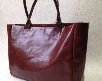 Top Zip Brown Leather Tote Bag – BELLA VOLUME Cognac Brown - Large Size Handmade Leather Tote - Safe Top Zip Leather Bag - Brown Leather Bag