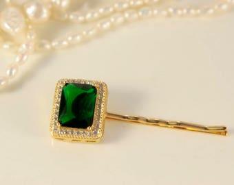 Emerald Gold Hair Pin Wedding Green Hair Slide Yellow Golf Square