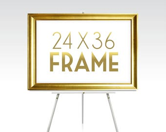 24 x 36 Large GOLD FRAME . Rose Gold Wedding Silver White Black Rustic Wood Picture Frame No Glass . 5 x 7in to 24 x 36in sizes available