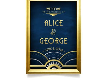 Framed Art Deco Gold Silver Black Navy Large Printed Welcome Sign & Any Frame . Great Gatsby 1920 Chalkboard Speakeasy Parlor . Add an EASEL