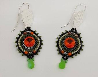 Earrings, beads, beading, colors, drops, coins, rivoli, glass