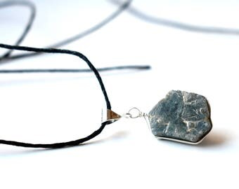 Raw Sapphire Pendant Necklace for Men, Raw Stone Necklace, Sterling Silver Raw Crystal Necklace, Mens Necklace, September Birthstone Gift