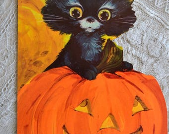 Vintage Halloween Greeting Card - Black Cat in Pumpkin JOL - Used Hallmark