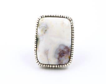Ethereal White Ocean Jasper Ring by TK