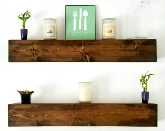 Floating Shelves | Floating Shelf | chunky wood shelves | Rustic kitchen shelf | Farmhouse Decor | rustic wood floating shelf decor