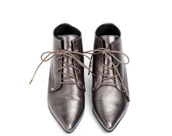 Derby Leather Shoes / Metalic Grey Tie Shoes / Lacing Shoes / Glitter Oxford Shoes / Womens Shiny Shoes / Elegant Shoes - Boston