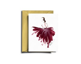 Fashion card, Fashion illustration, Burgundy card, Illustrated card, Luxury fashion card, Elegant fashion card, Card fashion