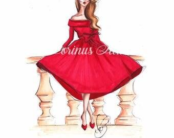 Fashion Illustration, Girl sketch, Fashion sketch, Girl illustration, Red dress sketch, Fashion art, Fashion wall art, Fashion print