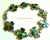 Four Leaf Clover, Vintage Bracelet, Abalone Links, Silver Tone Jewelry By SylCameoJewelsStore