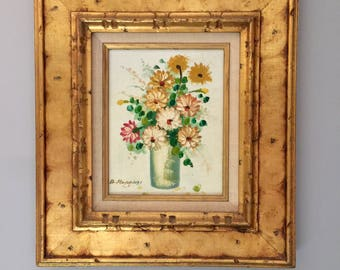 Floral Oil Paintings on Canvas - Painting Flowers in a Vase - Vintage Floral Painting - Mid Century - Original Framed Signed