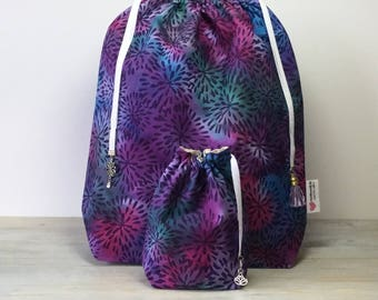 Batik Drawstring Project Bag and Accessories Bag Set for Knitting/Crochet/Craft
