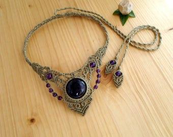 Amethyst macrame necklace, macrame stone, gemstone necklace, amethyst jewelry, hippie necklace, macrame jewelry, gypsy necklace