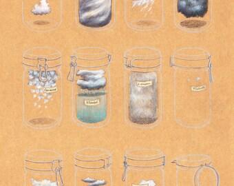 TRAVEL GIFT, illustration print. CLOUDS Collection, mason jars. Housewarming, orange Kitchen decor, Wall art. Wanderlust. Good trip, city
