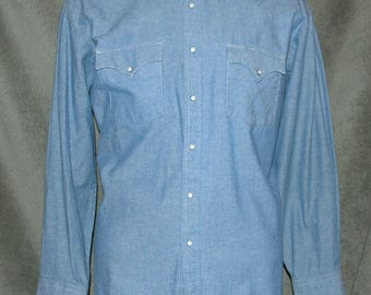 Vintage Shirt, Western Shirt, Pearl Snap, Cowboy Shirt, Chambray, Rockabilly Shirt, Men's Size XL, Holt Western Wear, 1990's, VG Condition